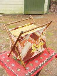 details about beautiful vintage folding sewing knitting basket cloth bag fabric wood frame