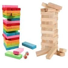 Game Played With Wooden Blocks Kids Jenga Game Wooden Blocks Natural Colourful Stacking Tower 45