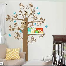 vinyl tree wall decal with shelves