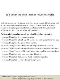Skills Of A Teacher Resume Mesmerizing Top 60 Advanced Skills Teacher Resume Samples