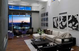 Living Room with City View at $10 Million Home in Hollywood Hills