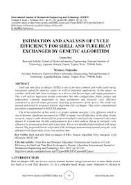 Research Paper On Heat Exchanger Design Estimation And Analysis Of Cycle Efficiency For Shell And