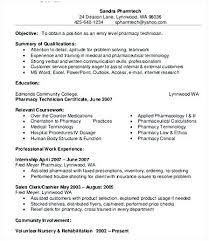 Objective For Pharmacy Resume Resume For Pharmacy Technician Sample Pharmacy Technician Resume