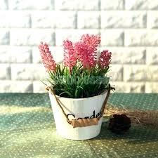 wooden plant pots wood planter pot artificial lavender flowers in rustic garden bucket metal hanging