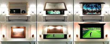 tv cabinet above fireplace frame hide coverups panel lift cabinet fireplace