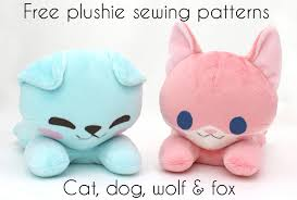 Free Stuffed Animal Patterns Enchanting Free Plushie Sewing Pattern Laying Animal Cat Dog Fox Wolf