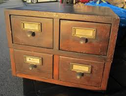 image of antique wood file cabinet 4 drawer