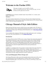 Welcome To The Purdue Owl Chicago Manual Of Style 16th Edition