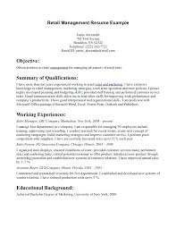 Retail Objective Resume Retail Management Resume Example For