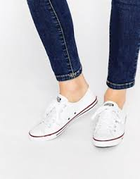converse shoes all white. converse all star dainty ox trainers shoes white
