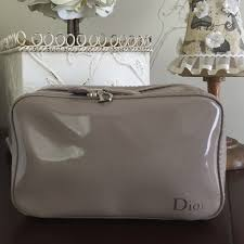 authentic dior makeup bag taupe color