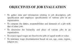 objectives for jobs job evaluation