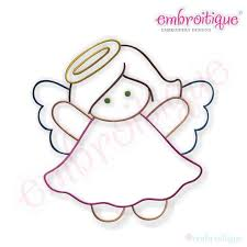 Simple Christmas Angel Embroidery Design Large Instant Etsy