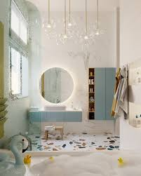 another bathroom geared toward the youngsters in the home though this time an elegant modern chandelier adds in some style to please the grown ups too