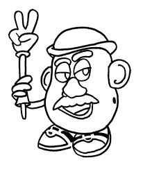 Toy Story Mr Potatao Hold Hand Toys Coloring Page For Kids