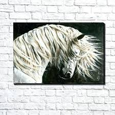 white horse wall art modern abstract canvas art white horse head oil painting print on canvas