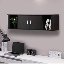 Home office wall Desk Image Unavailable Amazoncom Amazoncom Topeakmart Wall Mounted Floating Desk Hutch With Doors