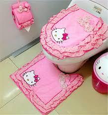 hello kitty bathroom set canada. 2015 new hello kitty bathroom sanitary sitting toilet seat cushion ring+ floor mat + closestool cover cover+tissue holders set canada