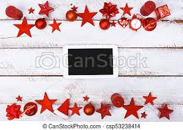 Christmas Ornaments Border Christmas Ornaments Border On White Table With Copy Space