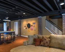 painted basement ceiling. Image Of: Painting Basement Ceiling Black Rafters Painted A