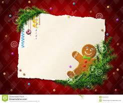 Blank Christmas Background Paper For Christmas List With Gingerbread Man Stock Vector