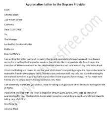 Appreciation Letter To The Daycare Provider Sample