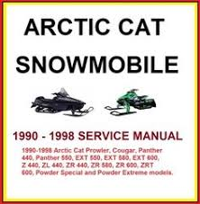 details about 1990 1998 arctic cat zrt ext zr cougar panther arctic cat snowmobile 1990 1998 service repair manual this manual covers the 1990 1998