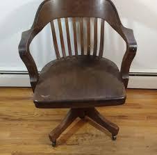 Vintage Banker Stuhl Holz Bibliothek Schreibtisch Im Büro