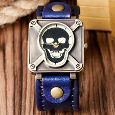 high quality square face mens watches promotion shop for high high quality cool skull face pattern wristwatch fashion blue leather band strap special crossbone men boy watches gift