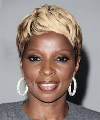 mary j blige short straight alternative hairstyle light blonde hair color