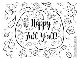 Free printable fall coloring pages. Happy Fall Ya Ll Coloring Page Favecrafts Com
