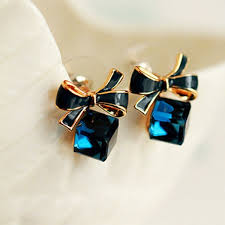 1 Pairs Women <b>Fashion Chic Shimmer</b> Plated Bow Cubic Crystal ...