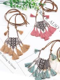 <b>Vintage Boho Bohemian Ethnic</b> Statement Tassel Pendant Necklace ...