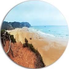 designart mt11011 c23 tranquil coastline with waves beach round metal wall art disc of 23 x 23 souq uae