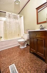bathroom renovation with penny floor