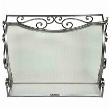 pewter fireplace screen has a hinged front panel