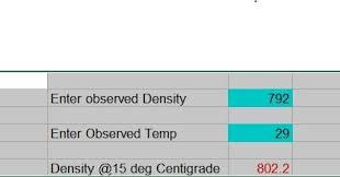 Furnace Oil Density Chart Excel Formula Density Conversion To 15 Deg C Table Astm 53