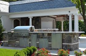 great outdoor kitchen with glass tile built in grill sink refrigerator bergen new jersey