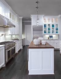 White Kitchens With Dark Wood Floors White Cabinets Dark Wood Floors Wood Countertop In Walnut On
