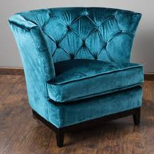 Unique Sofa Chair Teal Blue Velvet Tufted With Design