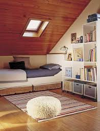 Bedroom:Cream Attic Room Decor Ideas With Book Shelves And Daybed Awesome Attic  Bedroom Design