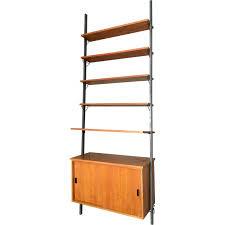 teak and metal modular shelving unit with 5 shelves 1950s