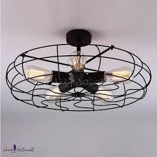 wrought iron ceiling fan novelty loft industry wrought iron fan led close to ceiling light