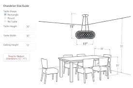 chandelier size for dining room table chandelier size guide dining room chandelier height the correct best designs