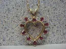 10k yellow gold diamond ruby heart necklace