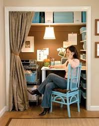 home office in a closet. home office ideas closet behind curtains in a