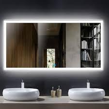 Hotel Bathroom Lighted Mirror Dp Home Large Horizontal Rectangle Mirror Led Illuminated Backlit Wall Mount Bathroom Vanity Mirrors Hotel Office Bar Mirror 55 X 28 Inch E N031 D