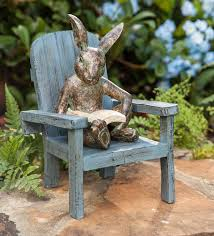 reading rabbit garden statue