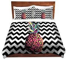 dianoche duvet covers twill by organic saturation party pineapple chevron tropical duvet covers