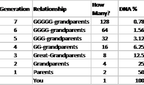Genealogy Relationship Chart Ancestral Dna Percentages How Much Of Them Is In You